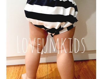 Baby // Toddler Black & White Stripe Bloomers,  Diaper Cover