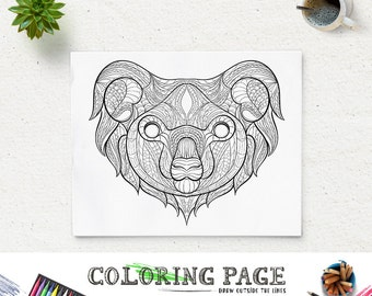 Printable Coloring Pages Koala Head Animal Page Adult Book Antistress Zen