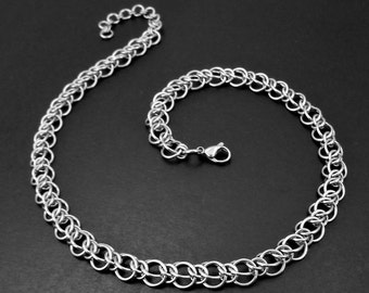 Elegant Stainless Steel Alternating Persian Chain Mail Choker Necklace Silver Tone