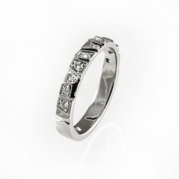Unique Wedding Band Modern Wedding Ring Alternative Half