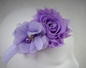 Lavender Baby Headband, Baby Girl Headband, Baby Flower Headband, Newborn Headband, Little Girl Headband, Flower Headband, Shabby Chic