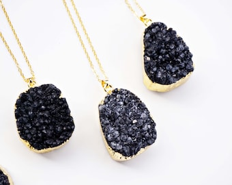 Black Druzy and Gold Stone Necklace
