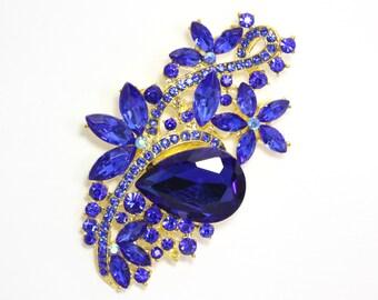 54 x 82 mm Blue Rhinestone Gold Brooch Wedding Brooch Bouquet Bridal Bridesmaid gift Embellisment