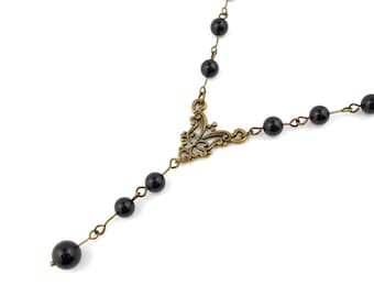 Natural Black Onyx and Antique Bronze Art Nouveau Necklace with Free Worldwide Shipping