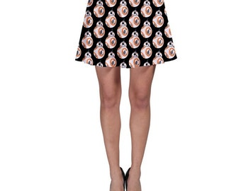 Star Wars Skirt, BB-8 Skirt, The Force Awakens Skirt, BB-8 on Black Skater Skirt