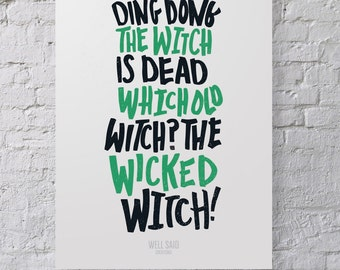 Wizard of Oz Print / Poster / Wicked Witch / Wall Decor / Wall Art / Gallery
