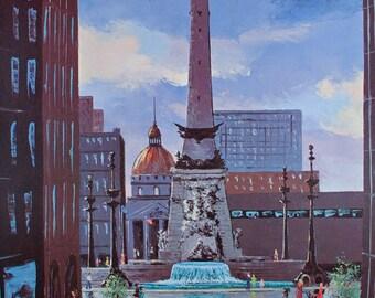 INDIANAPOLIS CIRCLE Print, Soldiers and Sailors Monument Print, Indianapolis Art, Indiana Art, Downtown Indianapolis, Vintage Art Print