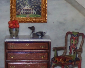 Framed Art. Plantation Home. Oak Alley.  1:12th Dollhouse.