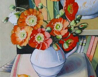 Original oil painting- poppies in white jug II