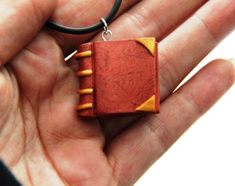 Book necklace, polymer clay book charm necklace, book charm imitation leather, back to school necklace, gift for teachers