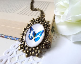 Blue Butterfly Necklace, Nature Illustration Pendant, Woodland Animal Art Necklace, Gift for Mother of Groom, Blue Butterfly Pendant Jewelry