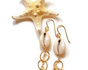 Cowrie Shell Earrings, Dangling Shell Earrings, Cowrie Earrings Gold, Gold Chain Earrings