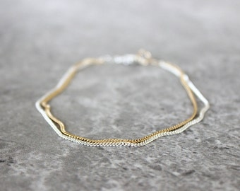 Mixed Chain Bracelet - Minimalist Bracelet with Gold and Silver Chain