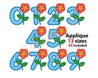 Applique Numbers. Flower number embroidery design.  Numbers embroidery. Number applique. Birthday number applique. Machine embroidery design