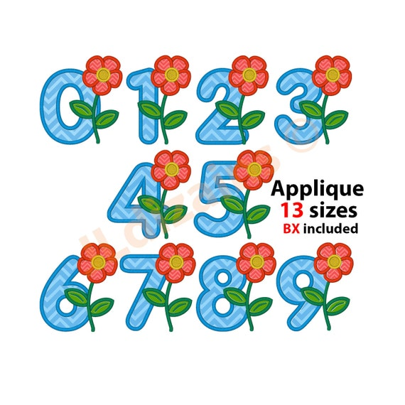 Applique numbers machine embroidery designs instant