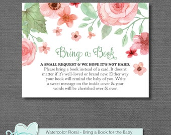 Bring a Book Baby Shower Insert Card Pink and Green, Books For Baby, Baby Shower Game, Watercolor Floral, Instant Download, Flowers, 002A