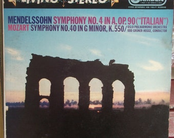 Oslo Philharmonic Orchestra, Mendelssohn Symphony No. 4 and Mozart Symphony No. 40, Vintage Record Album, Vinyl LP, Classical Music, Norway