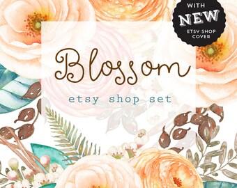 Etsy Shop Banner Set  Watercolor Floral Shop Cover Avatar Listing Image Shop Icon Pastel Floral Bouquet