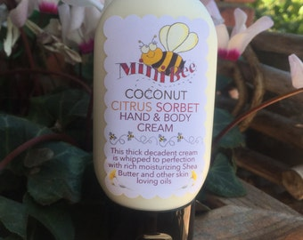 COCONUT CITRUS SORBET Hand Cream, Body Cream, Shea Butter Handmade Cream
