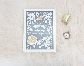 Happily ever after paper cut. Wedding paper cut. Love quote art. White and gold paper art.  Wedding gift. Engagement gift. Typography art.