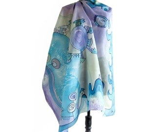 Handpainted silk scarf in blue, green and violet. Square scarf with houses and trees. Fantasy scarf paint by hand. Women's Christmas gift.