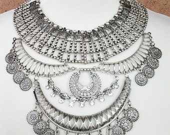 Silver Tribal Necklace / Silver Chain Coins Boho Necklace.