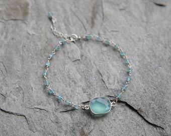 Aqua blue chalcedony Drop bracelet with beaded accents // bezel bracelet // beaded bracelet // sterling silver bracelet
