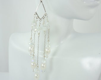 Fresh Water Pearl and Crystal Chandelier Earrings, Pearl Earrings, Crystal earrings, Fresh Water Pearls, Sterling Silver, Lever Back