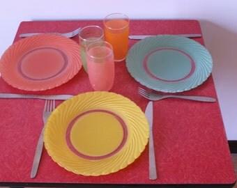 Plates vintage plates coloured glass, plates seventies plates Duralex batch