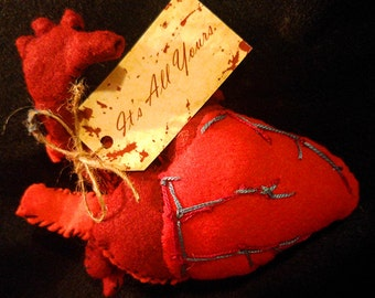 """Handmade """"It's All Yours"""" Anatomical Heart Plush"""