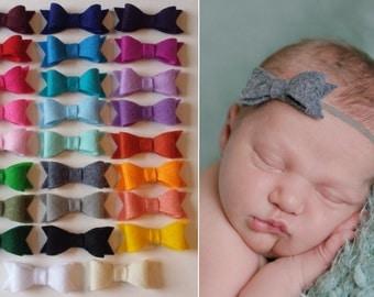 8 Felt Bow Headbands, Infant Baby Girl Bow Headband, baby bow Headband, Felt Bow, Baby Hair Bows, toddler bow headband, skinny headband
