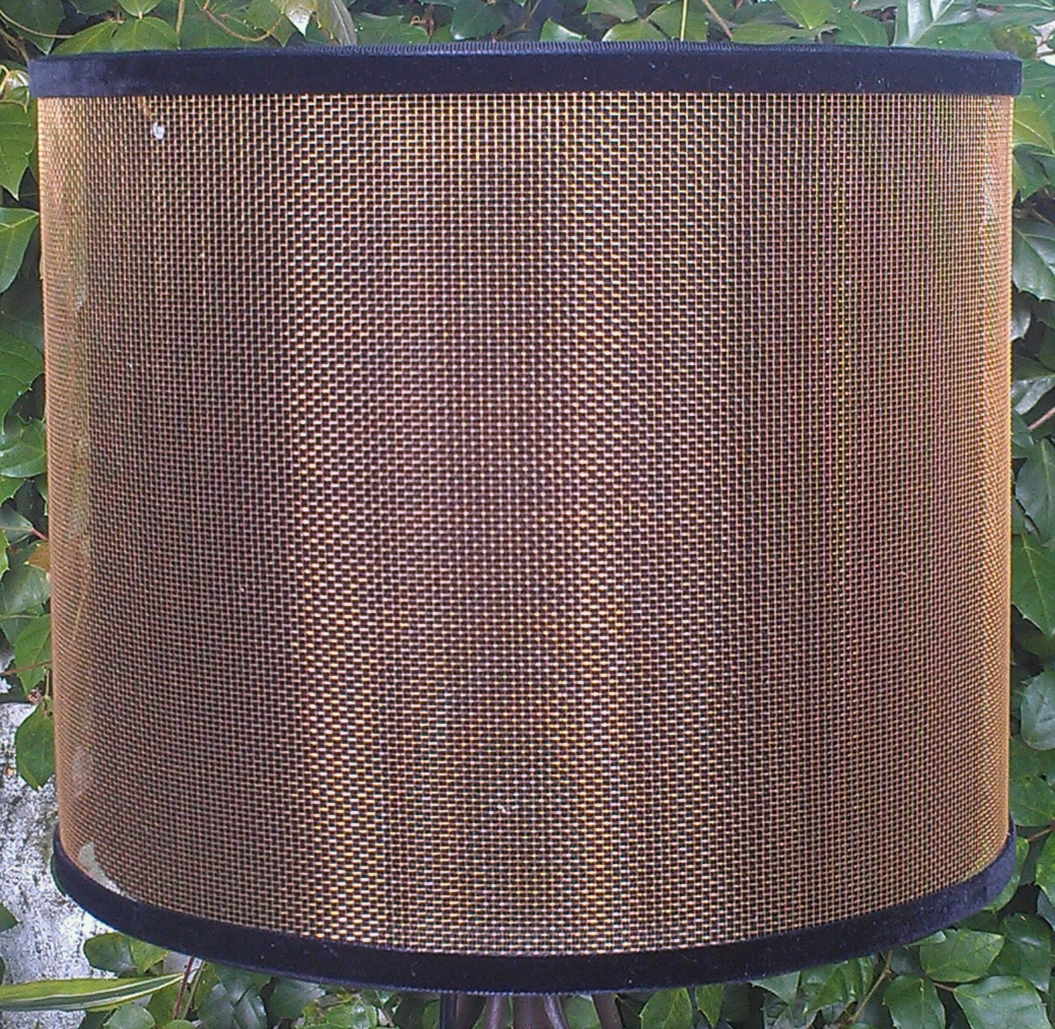 Screen Lampshade Bronze Industrial Drum Linen Diffuser