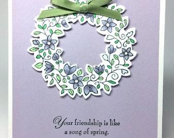 Spring Wreath Friendship Handmade Card