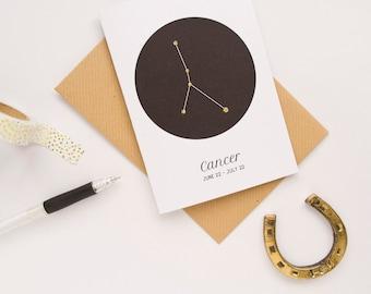 Cancer Star Sign Card / Constellation Card / Zodiac Sign / Cancer Birthday Card / Star Sign Constellation / Astrology Card / Zodiac Card