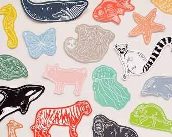 SALE / Large Animals Sticker Set / 25 Animal Stickers Lucky Dip Pack / Gift for Kids / Planner Stickers / Cute Stickers