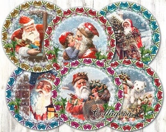 "Vintage Santa Claus Digital Collage Sheet 4"" 3"" 2.5"" 2 inch circles, Round Coasters, Victorian Christmas Ephemera Xmas Wreath Noel (EC03-c)"