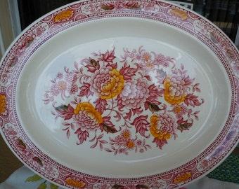 Ridgway, CANTERBURY,  Ironstone,Large Platter, Red Transferware,  Serving, wall decor, tableware, english platter, Bridal