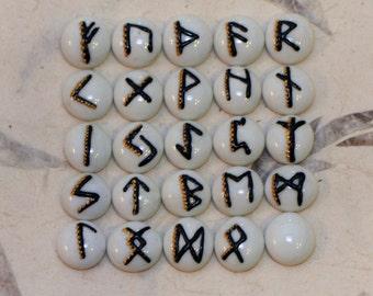 Elder Futhark Runes, 25 Piece Set, White, Black & Gold