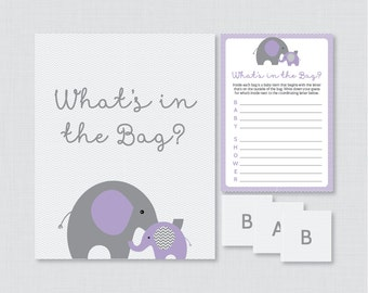 Elephant Baby Shower Bags Game Printable   Guess Whatu0027s In The Bag Game    Elephant Themed