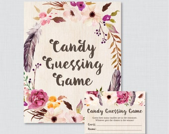 Boho Baby Shower Candy Guessing Game Printable - Guess How Many Candies, M&Ms, Jelly Beans, etc - Bohemian Feather Flowers Candy Game 0043