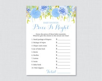 Floral Baby Shower Price is Right Game - Printable Baby Shower Game Instant Download - Blue Flower Price is Right - 0048