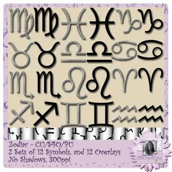 Zodiac Signs and Overlays, Halloween, Wicca, Wiccan, Solstice, Star Signs, Witch, Pagan, Digital Scrapbooking, Scrapbooking