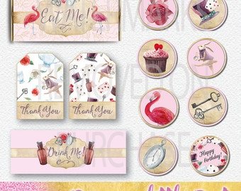 Alice in Wonderland Watercolour Party collection | Instant Download