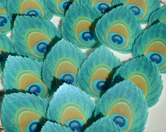Edible Peacock Feather Eye Art Deco Blue Iridescent Wafer Rice Paper Wedding Cupcake Topper Glam Birthday Cake Decoration Party Cookie Decor
