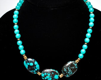 Natural Turquoise and Amazonite necklace, gemstone necklace, statement necklace