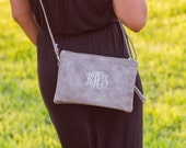 Monogrammed Crossbody Clutch | Faux Leather Clutch | Ladies' Crossbody | Monogram Clutch | Monogram Wristlet Wallet |  Oxford