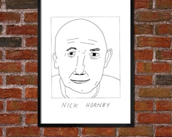 Badly Drawn Nick Hornby - Literary Poster - *** BUY 4, GET A 5th FREE***