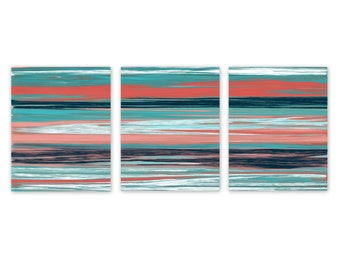 Abstract Wall Art Coral Teal Navy Instant Download 3 Printables Home Decor  Wall Decor 5x7, Part 61