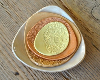 Set of 4 - Handmade Doily stamped Caramel Pottery Plates, Serving Platter, Tapas Dishes, Side Dishes, Gift