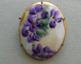 Victorian Antique Violet Brooch ~ Hand Painted Violets On Porcelain ~ 2 Inch By 1 1/2 Inch ~ Work Of Art ~ Great Quality And Condition